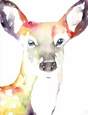 A watercolor painting of a deer by Michelle Detering. The piece will be featured in the March issue of British Vogue.