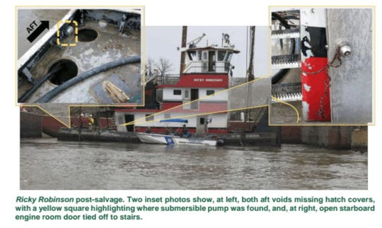 "Images from the National Transportation Safety Board report on the sinking of the Ricky Robinson. Of note is the image at upper left, which shows the lack of hatch covers over the ""void"" spaces at the rear of the boat."