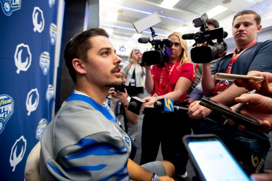 Memphis quarterback Brady White talks with reporters Thursday, Dec. 26, 2019, during Goodyear Cotton Bowl media day at AT&T Stadium in Arlington, Texas.