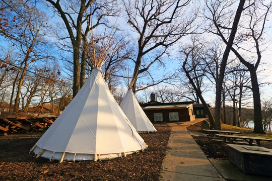 Teepees are seen at Hubbard Park in Shorewood on Thursday. The teepees are drawing criticism on social media from folks who feel the teepees are insensitive to native culture.