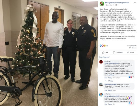 Montgomery Police Department post about Gregory Phillips
