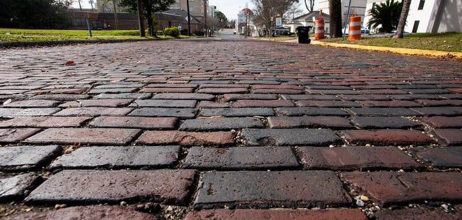 The brick lined block of Scott Street in downtown Montgomery, Ala., on Thursday December 26, 2019.
