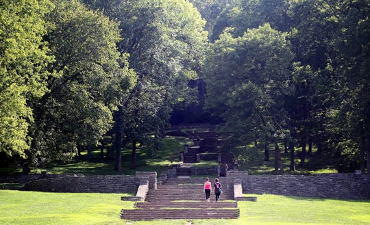 People get a workout climbing the stone steps that lead to the trails at Percy Warner Park in Belle Meade on Monday, Aug. 8, 2016.