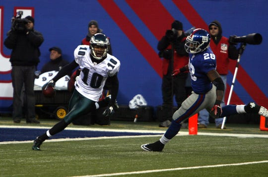 DeSean Jackson runs along the goal line on the game-winning punt return against the Giants in 2010.