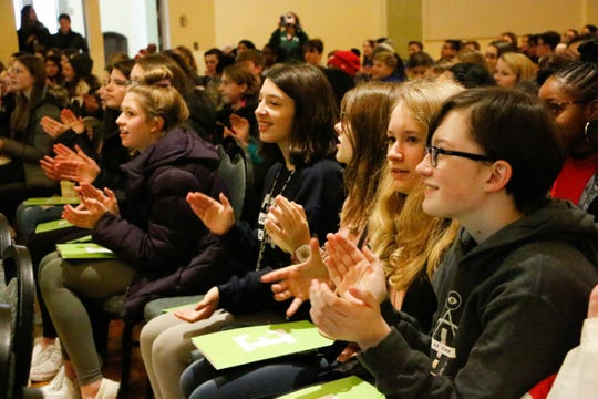 A large contingent of Pioneer Middle School students visited Eastern Michigan University earlier this month.