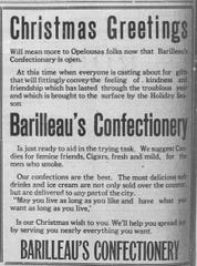 Barilleau's Confectionery ad in St. Landry Clarion newspaper in December of 1919