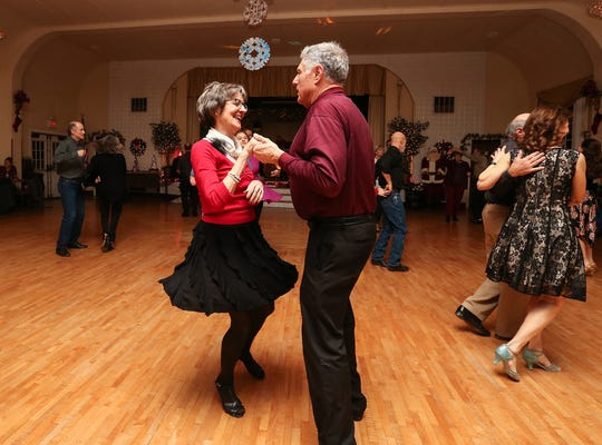 Kathryn Gahl of Appleton and Bob Lundt of Iola dance on Dec. 20 at the Crystal Ballroom in St. John.