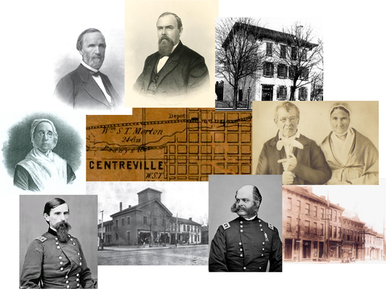 1856 Centreville map courtesy of the Wayne County surveyor's office. Prominent historical figures and structures superimposed. Top right: George W. Julian, Oliver P. Morton, Rebecca Julian, Dr. David Sackett and wife Martha, Lew Wallace, Ambrose E. Burnside.