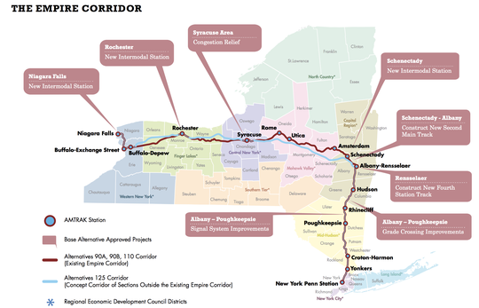 A state Department of Transportation map in 2014 laid out various proposals for high-speed rail in New York.