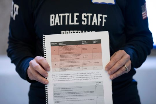 A booklet is held up during an exercise run by military and national security officials, for state and local election officials to simulate different scenarios for the 2020 elections, in Springfield, Va.