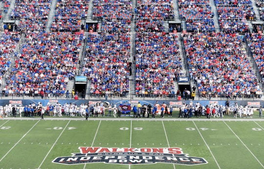 The first half of the 2019 Walk-On's Independence Bowl Thursday afternoon, December 26 at Independence Stadium in Shreveport, Louisiana.