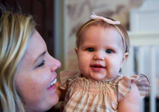 Charlotte Frankman, 8 months old, plays with her mom, Lexie, on Monday, Dec. 23, 2019 at their home in Sioux Falls. Charlotte is the top baby name of 2020.