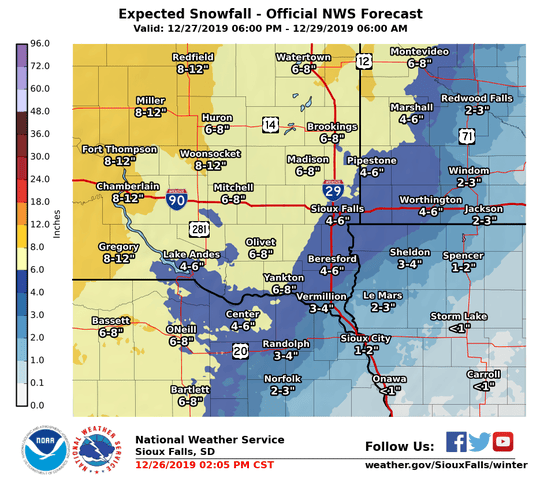 The National Weather Service of Sioux Falls predicts Sioux Falls could see 3-4 inches of snow between Friday night and Sunday, lingering into Monday during the heavy holiday travel weekend between Christmas and New Year's.