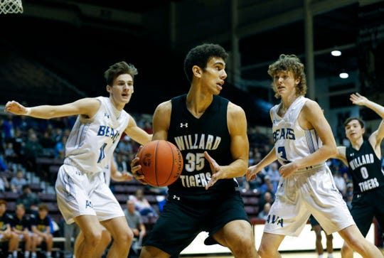 Willard senior Daniel Abreu looks for a open teammate during a game against the Ava Bears in the first round of the Blue Division of the Blue and Gold Tournament at Hammons Student Center on Thursday, Dec. 26, 2019.