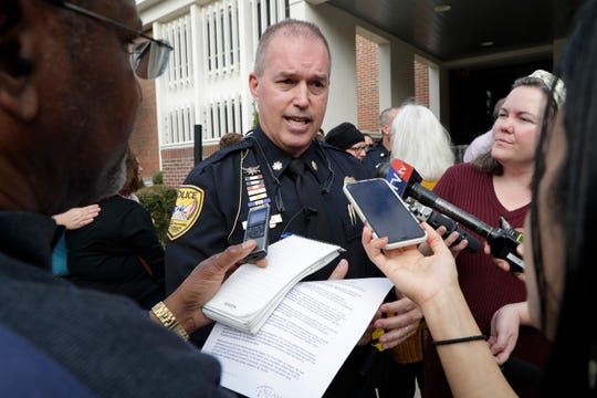 Tallahassee Police Chief Lawrence Revell speaks to the press after a news conference where he was announced as the new chief Thursday, Dec. 26, 2019.