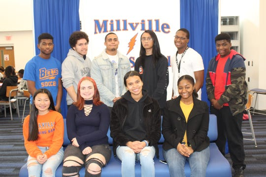 Millville Senior High School's Students of the Month for Novemberare: (seated) Amanda Stellwag, Kalani Flores, Kenny'a Dunns and Nia Thomas; and (standing) Jaheim Berry, Anthony Vazquez, Anthony Ortiz, Lykhan Wooten, Bishop Giddens and Kolbie Adams.