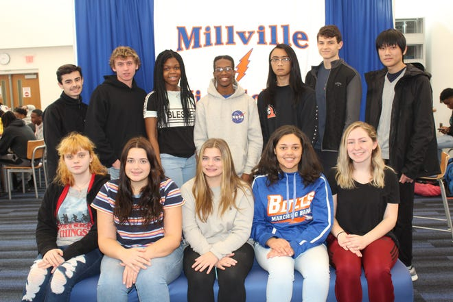 Millville Senior High School's Students of the Month for October are: (seated) Tish Mastrando, Aurora Ryan, Kyleigh Harbison, Rosalynn Rodriguez and Abigail Stidham; and (standing) Noah Weldon, Blaine Donath, Tashina Romelus, Lykhan Wooten, Vincent Fazzolari and David Choo.