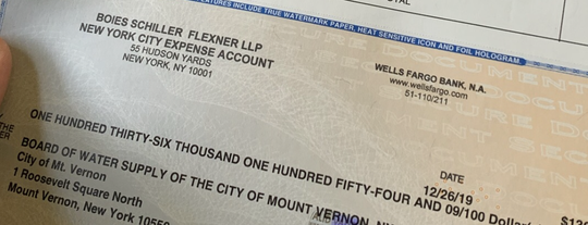 Check from the law firm Boies Schiller Flexner repaying Mount Vernon water funds used for the firm's representation of then Mayor Richard Thomas on criminal charges