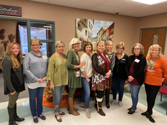 Senior-Junior Forum members recently helped at The Kitchens Annual Thanksgiving Day luncheon. From left to right:  LaNell Kruger, Debbie Moody, Delores Culley, Lydia McWhorter, Vicki Tigert,  Colleen James, Loisanne Neal, Sharon McCloskey, Melody Jennings, Ladell Schmalzried.