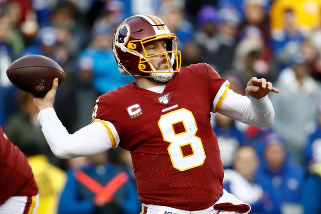Washington Redskins quarterback Case Keenum throws a pass against the New York Giants during the second half Sunday, Dec. 22, 2019, in Landover, Md.