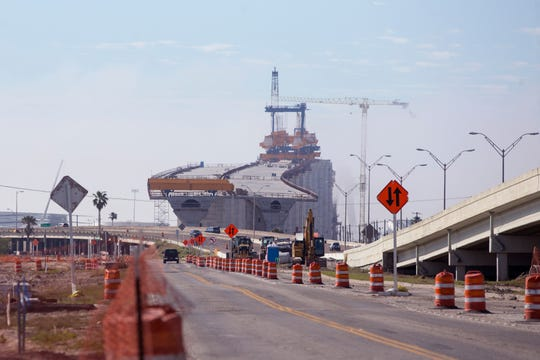 Construction continues on the new Harbor Bridge on December 27, 2019.