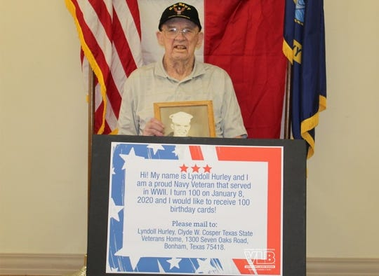 Lyndoll Hurley, a World War II Navy veteran, will celebrate his 100th birthday on Jan. 8, 2020. His one wish is to receive 100 birthday cards.