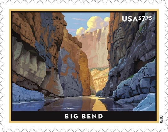Designed by art director Greg Breeding with original art by Dan Cosgrove, a stamp featuring Big Bend National Park will be released next month.