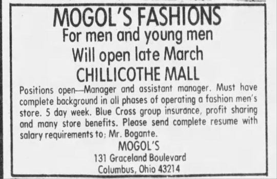 An advertisement in the Chillicothe Gazette looking for employees for the new Mogol's Fashions store.