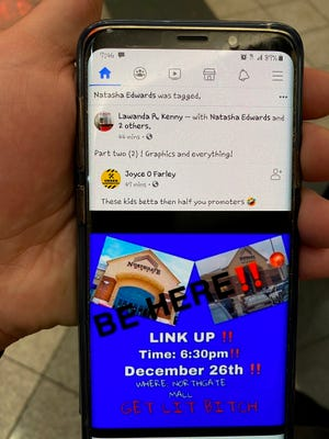 """A social media post shows an""""invitation"""" graphic to an event at Northgate Mall, and has photos of the mall's entrance."""
