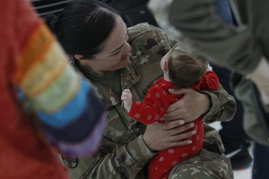 Dozens of soldiers with the 129th Division Sustainment Support Battalion return home to Fort Campbell on Dec. 26, 2019.
