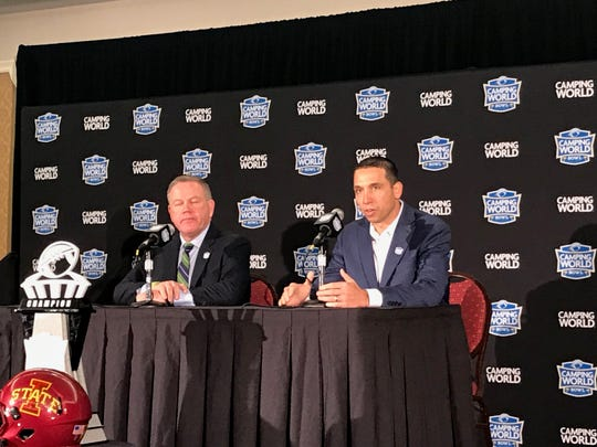 Brian Kelly and Matt Campbell share the press conference podium Friday