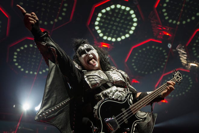 Gene Simmons of Kiss during the band's End of the Road World Tour stop at Little Caesars Arena in Detroit on March 13, 2019.