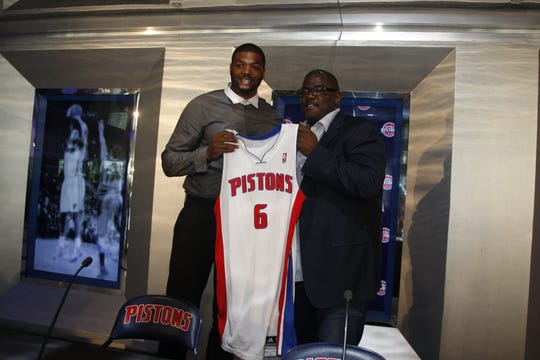 Joe Dumars introduces newly signed free agent Josh Smith, July 10, 2013 at the Palace of Auburn Hills.