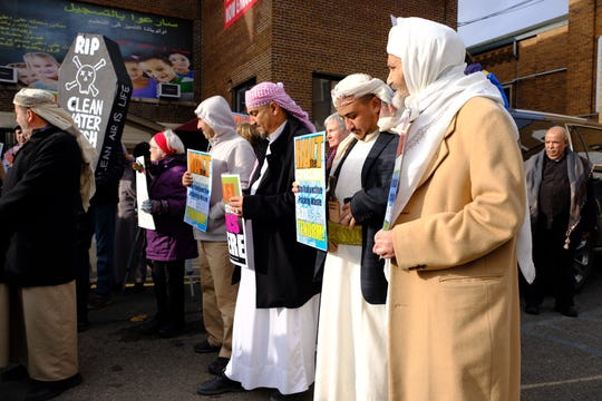 The protest was held at the local mosque Masjid Mu'ath Bin Jabil, following Friday prayer and was attended by about 35 people.