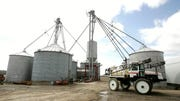Grain silos are shown on a  Lenox Twp. farm in this  April 9, 2008, file photo.