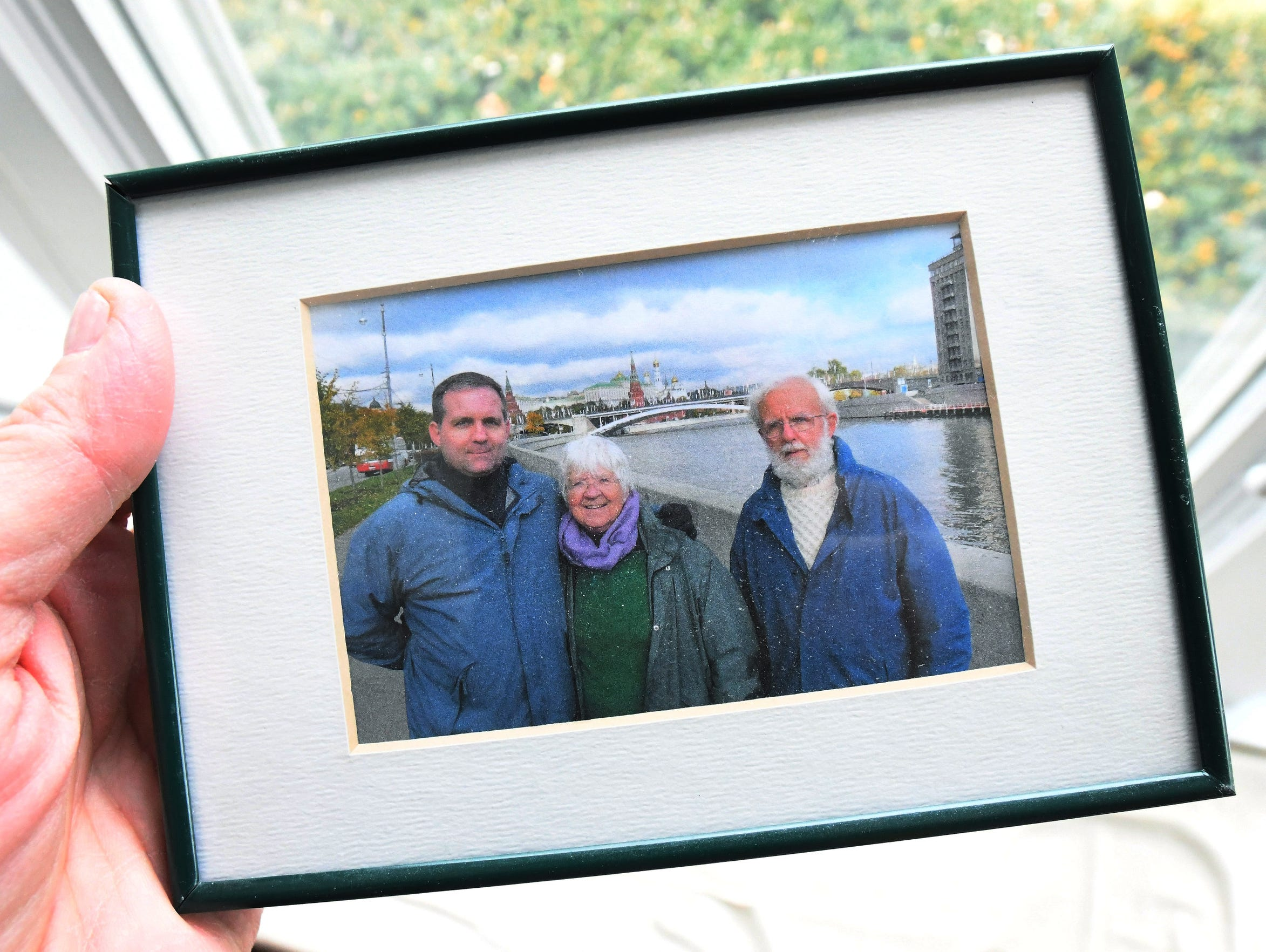 A family photo shows Paul Whelan and his mother, Rosemary, and father, Edward, during a trip to Russia in 2009.