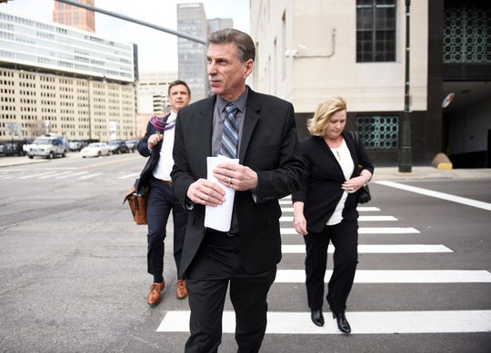 Norwood Jewell leaves federal court in Detroit in 2019.