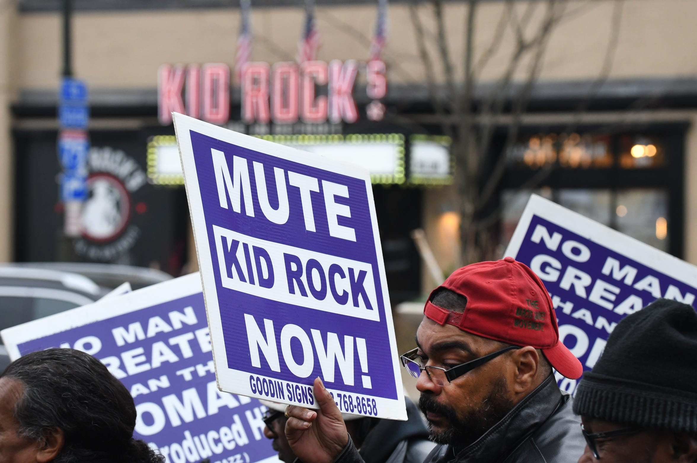 Detroit minister and activist Malik Shabazz protests Kid Rock's rant against Oprah Winfrey during a demonstration outside Kid Rock's Made in Detroit restaurant at Little Caesars Arena in December. The restaurant will not renew it's lease in 2020.