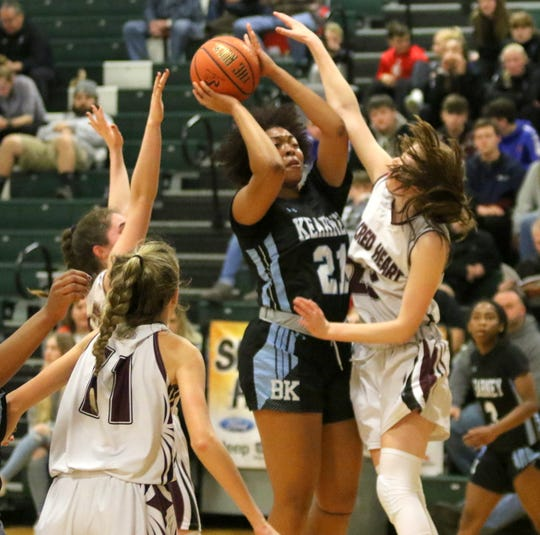 Saniaa Wilson of Bishop Kearney goes up for a shot in a 62-59 win over Sacred Heart in a girls quarterfinal at the Josh Palmer Fund Elmira Holiday Inn Classic on Dec. 27, 2019 at Elmira High School.