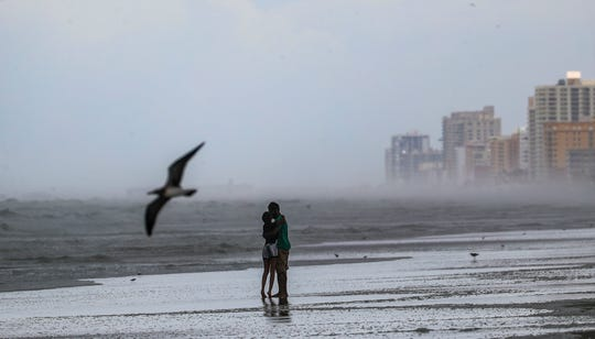 The Daytona Beach area has been put on mandatory evacuation, yet people wanted to see and use the beach one last day.