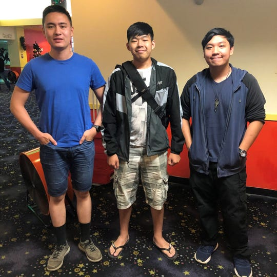 "From left: Moviegoers Louis Randall, Kenny Liang and Jerome Ochoa after they watched ""Star Wars: The Rise of Skywalker"" on Dec. 22, 2019 at the Tango Theatres, Micronesia Mall Stadium Theatres."