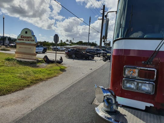 Guam Fire Department responded to a motorcycle/auto crash on Route 1 by Guam Home Center on Dec. 27, 2019.