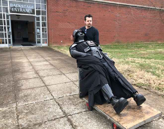 Collin Royster wheels the lifesize Darth Vader figure he made into the Preston Arts Center on Dec. 26, 2019, in preparation for an exhibit, titled Collin Royster: Out of His Mind, that will be open Jan. 9 through March 7, 2020, with a special public sneak preview Jan. 3-4.