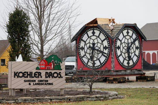 The Hour Time clock sits in the lot of Koehler Bros., 3120 Dayton road, Friday, Dec. 27, 2019 in Dayton. The clock, built in 1910, sat atop the Hour Time Restaurant for decades.