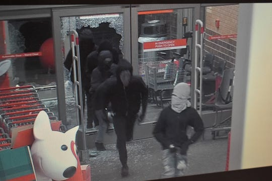 A security camera at the Target store in Brighton captured images of five suspects breaking into the store early Friday, Dec. 27, 2019.