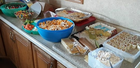 A variety of snacks along with grilled turkey were enjoyed throughout the day at the Eicher family's Christmas gathering.
