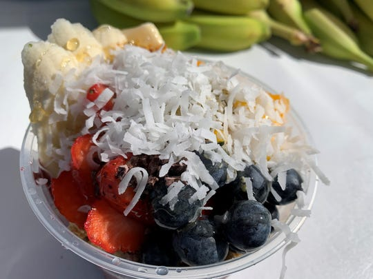 """The """"Super Hero Bowl"""" from Sweet Blendz at the Marco Island Farmer's Market."""