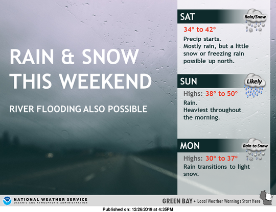 A mix of rain and snow is possible across the state over the weekend. This forecast depicts predicted conditions in northeast and central Wisconsin.