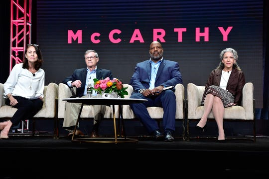 "The people behind the ""American Experience"" documentary ""McCartthy"" face TV journalists at the Television Critics Association press tour in Beverly Hills, California, this summer. From left: Series senior producer Susan Bellows; David M. Oshinsky, author of ""A Conspiracy So Immense: The World of Joe McCarthy""; Jelani Cobb, New Yorker staff writer and Columbia University journalism professor; and Sharon Grimberg, writer, director and producer of ""McCarthy."" The documentary airs on PBS Jan. 6, 2020."