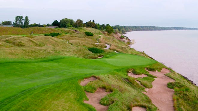 The 13th hole at Whistling Straits golf course, the home of the 2020 Ryder Cup golf tournament, on Sept. 19, 2019.